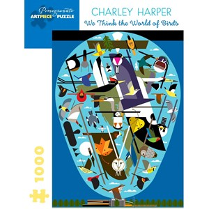 """Pomegranate (aa1056) - Charley Harper: """"We Think the World of Birds"""" - 1000 piezas"""
