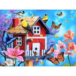 "SunsOut (49044) - Jerry Gadamus: ""Red Birdhouse"" - 1000 piezas"