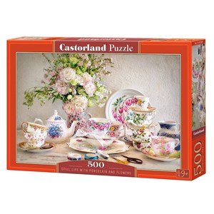"""Castorland (B-53384) - """"Still Life with Porcelain and Flowers"""" - 500 piezas"""
