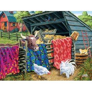 """SunsOut (38946) - Joseph Burgess: """"Quilt Cow"""" - 300 piezas"""