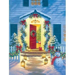 """SunsOut (55942) - Corbert Gauthier: """"Christmas Porch"""" - 500 piezas"""
