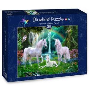 "Bluebird Puzzle (70386) - Jan Patrik Krasny: ""Rainbow Unicorn Family"" - 260 piezas"