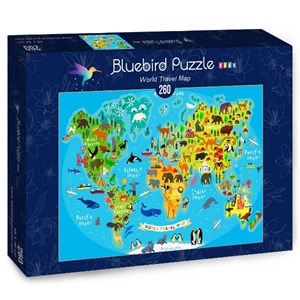 "Bluebird Puzzle (70378) - ""World Travel Map"" - 260 piezas"