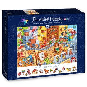 "Bluebird Puzzle (70350) - Lyudmyla Kharlamova: ""Search and Find, The Toy Factory"" - 150 piezas"