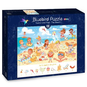 "Bluebird Puzzle (70351) - Lyudmyla Kharlamova: ""Search and Find, The Beach"" - 100 piezas"