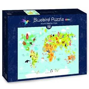 "Bluebird Puzzle (70357) - Olga Utchenko: ""World Map for Kids"" - 150 piezas"