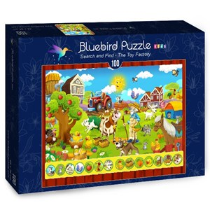 "Bluebird Puzzle (70349) - ""Search and Find, The Toy Factory"" - 100 piezas"