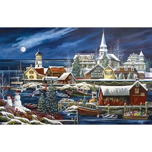 """SunsOut (51182) - Debbi Wetzel: """"Winter Harbor"""" - 1000 piezas"""