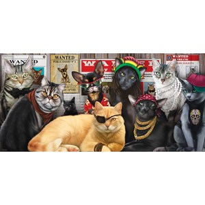 "SunsOut (49012) - Lucia Guarnatta: ""Cat Lineup"" - 1000 piezas"