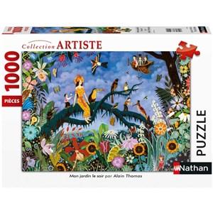 """Nathan (87633) - Alain Thomas: """"Mon Jardin Le Soir"""" - 1000 piezas"""