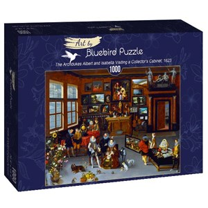"""Bluebird Puzzle (art-by--60077) - Hieronymus Francken Iicirca: """"The Archdukes Albert and Isabella Visiting a Collector's Cabinet, 1623"""" - 1000 piezas"""