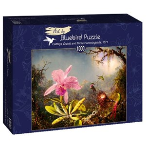 "Bluebird Puzzle (60097) - Martin Johnson Heade: ""Cattleya Orchid and Three Hummingbirds, 1871"" - 1000 piezas"