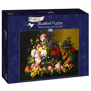 "Bluebird Puzzle (60030) - Severin Roesen: ""Still Life, Flowers and Fruit, 1855"" - 1000 piezas"