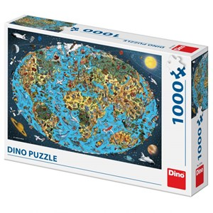 "Dino (53281) - ""Illustrated World Map"" - 1000 piezas"