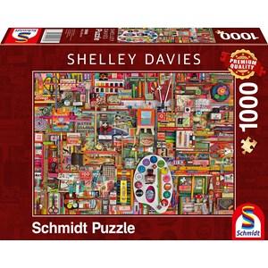 """Schmidt Spiele (59698) - Shelley Davies: """"Vintage Artist Materials"""" - 1000 piezas"""