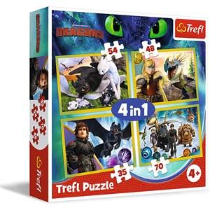 """Trefl (34341) - """"Dreamworks, Dragons"""" - 35 48 54 70 piezas"""