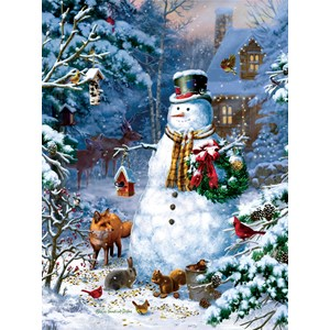 "SunsOut (59796) - Liz Goodrick-Dillon: ""Winter Cabin Snowman"" - 1000 piezas"
