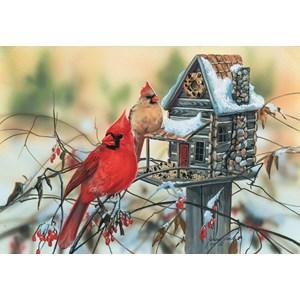 """SunsOut (30624) - Janene Grende: """"Cardinal's Rustic Retreat"""" - 500 piezas"""
