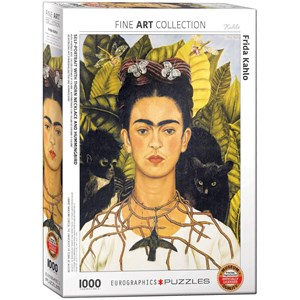 "Eurographics (6000-0802) - Frida Kahlo: ""Self-Portrait with Thorn Necklace and Hummingbird"" - 1000 piezas"