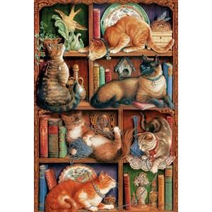 "Cobble Hill (50710) - Janet Kruskamp: ""Feline Bookcase"" - 2000 piezas"