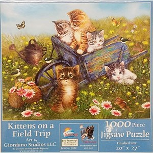 "SunsOut (37186) - Giordano Studios: ""Kittens on a Field Trip"" - 1000 piezas"