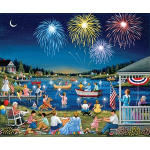 """SunsOut (61342) - """"Lakeside on the Fourth of July"""" - 1000 piezas"""