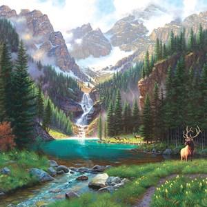 "SunsOut (52982) - Mark Keathley: ""Elk at the Waterfall"" - 1000 piezas"