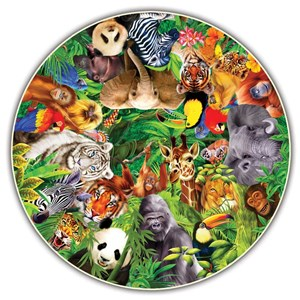 "A Broader View (373) - ""Wild Animals (Round Table Puzzle)"" - 500 piezas"
