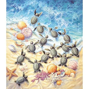 "SunsOut (SV45501) - Sherry Vintson: ""Green Turtle Hatchlings"" - 550 piezas"