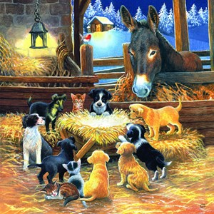 "SunsOut (39535) - Chrissie Snelling: ""Barnyard Nativity"" - 500 piezas"