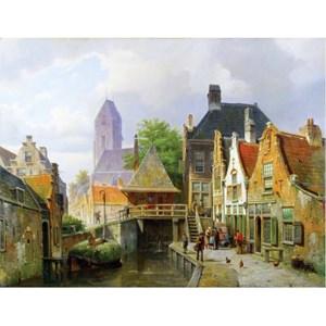 """Puzzle Michele Wilson (A296-650) - Barend Cornelis Koekkoek: """"View of Oudewater"""" - 650 piezas"""